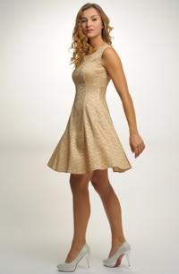 Elastické společenské šaty s ozdobnou pleteninou