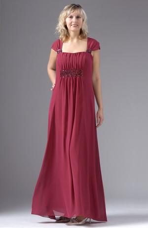 Krátké šaty pro plnoštíhlé s řasením pod prsy.