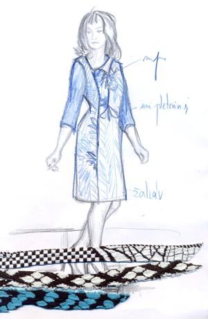 Krátké společenské šaty se sedlem s bordurou