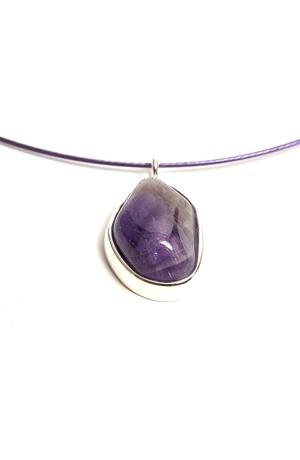 Náhrdelník lanko s fialkovým přírodním kamenem