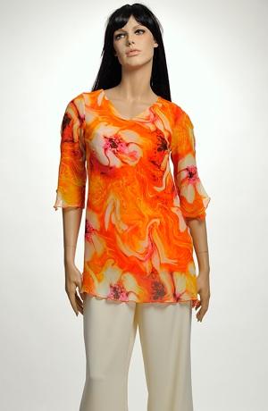 Šifonová tunika s malovaným květem