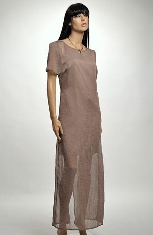 Dlouhé šaty z krešovaného šifonu