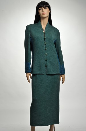 Kombinovaný pletážový kabátek se stojáčkem