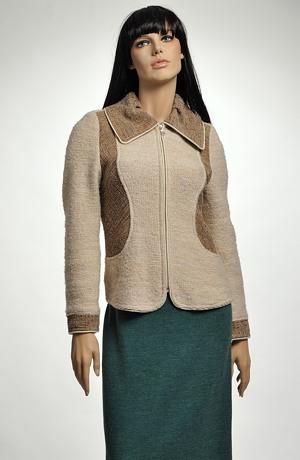 Kabátek na zip se zajímavým členěním předního dílu