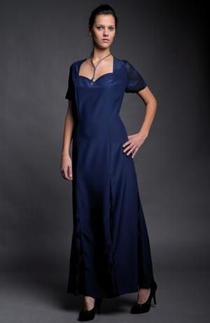 Dámské dlouhé společenské šaty v modré - levné, vel. 48 / XXL Plesové šaty - výprodej luxusních modelů