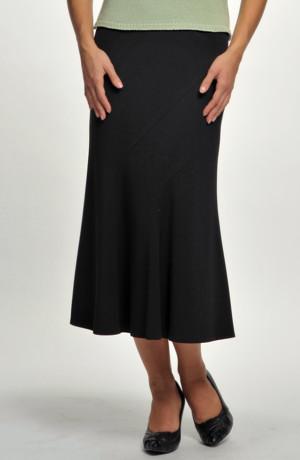 Černá lady sukně se vsadkou na předním dílu