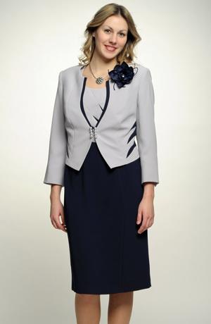 Šatový kostým s krátkým sakem v modro šedé