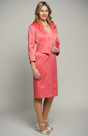 Dámský komplet- pouzdrové šaty s asymetrickými díly a kabátkem