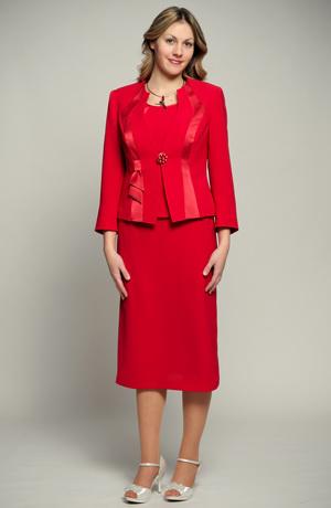 Dámský společenský trojkomplet v jahodové červené ze dvou materiálů, uni a vzorovaný materiál, úzká sukně s volánem v lady délce