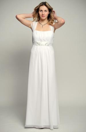 Bílé antické svatební šaty pro plnoštíhlé s řasením a stříbrnou portou s korunkami, vel. 38, 40, 42, 44, 46, 48, 50, 52