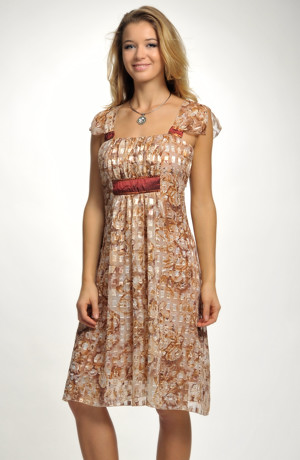 Společenské šaty v délce ke kolenům s potiskem a s řasením, vel. 40