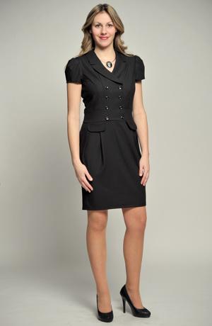 Krátké černé šaty s dvouřadovým zapínáním a s rukávky