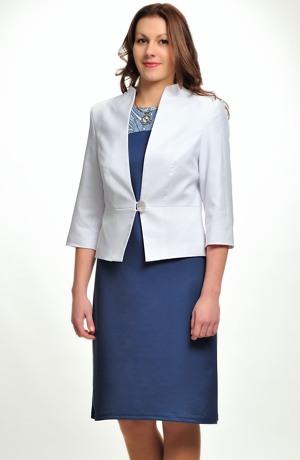Společenské bílé sako s plastickým vzorem kůže