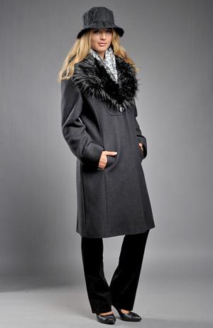 Dámský zimní kabát s kožešinovým límcem