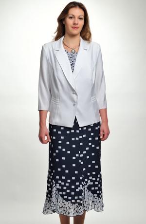 Lehký šifonový dámský kostýmek s delším sakem