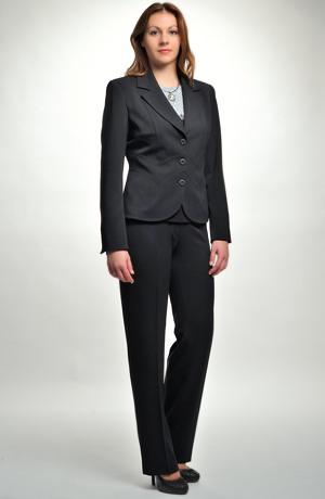 Černý dámský kalhotový a sukňový kostým zdobený štepováním