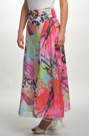 Dlouhá sukně ze šifónu se vzorem ruční malby
