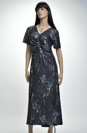 Elegantní elastické plesové šaty s řaseným živůtkem