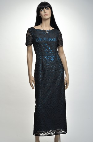 Společenské luxusní šaty z jemné krajky do bordury