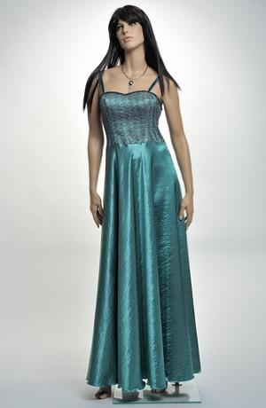 Dámské plesové šaty s korzetovým živůtkem zdobeným krajkou