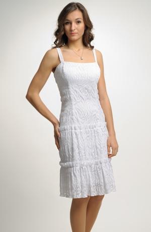 Krátké bílé šaty nad kolena s krinolínou