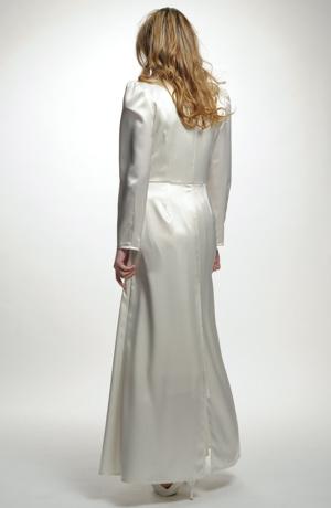 Dlouhý bílý svatební saténový kabát - sleva modelu