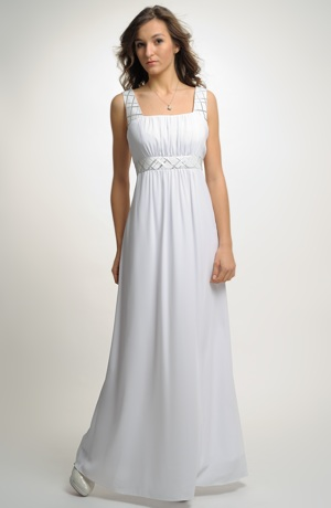 Exkluzivni šaty v řeckém stylu mají bohatě řasený živůtek.