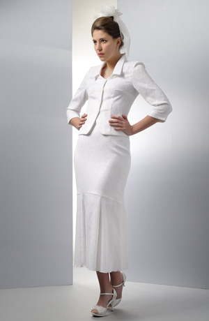 Letní bílý svatební kostýmek