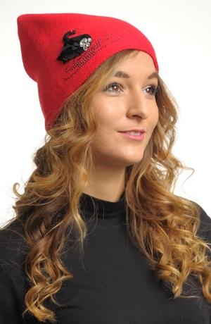 Módní červená a růžová čepice