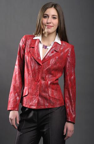 Moderní dámské sako z červeného elastického materiálu