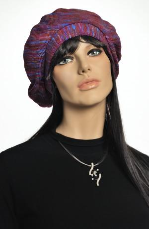 Pletená baretka z melíru