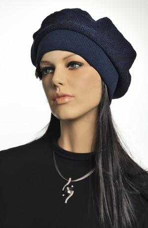 Dámský pletený baret modrý