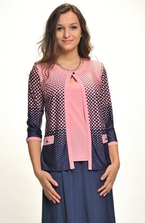 Elegantní dámský svetřík - halenka - z jemné pleteniny