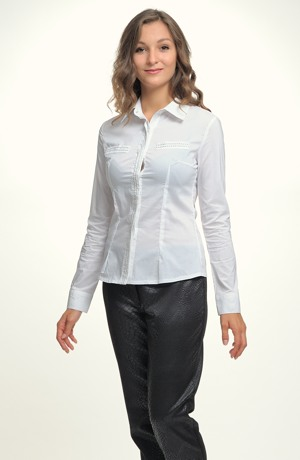 Dámská elastická košile s vyšším límcem a štepováním