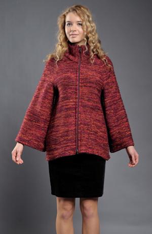 Pletený kabátek se širokými rukávy se zapínáním na zip.