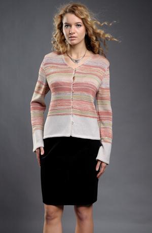 Dámský pletený kabátek v pastelovém melíru