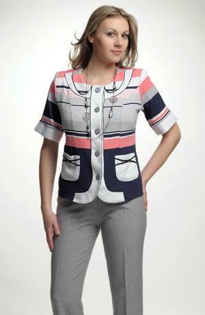 Lehký kabátek s krátkým rukávem v proužku