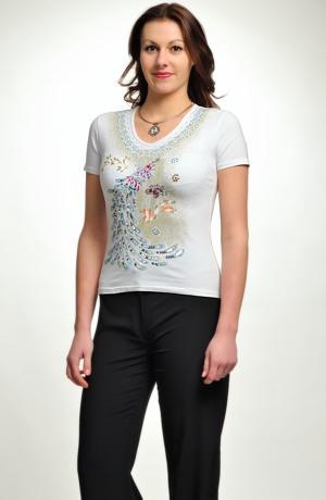 Letní triko s potiskem a pajetkami