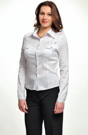 Košilová elastická halenka s pruhy