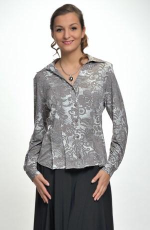 Elastická košilová halenka s krajkovým vzorem