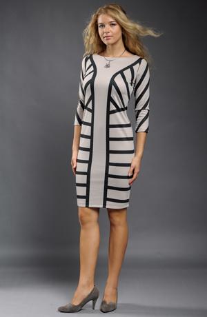 Elegantní šaty do práce s potiskem pruhů