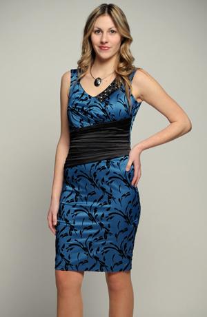 Elegantní dívčí modré koktejlové šaty - SLEVA. Vel. 36.