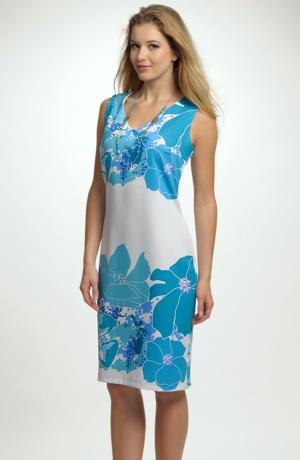Letní šaty v délce nad kolena s ozdobnou bordurou velkých květů
