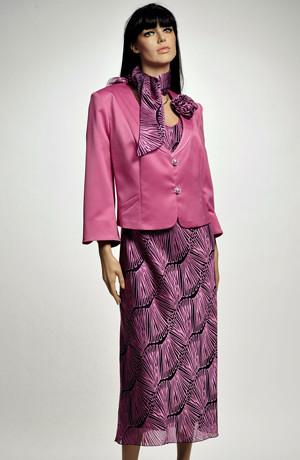 Dámský kostýmek s grafickým vzorem na šatech