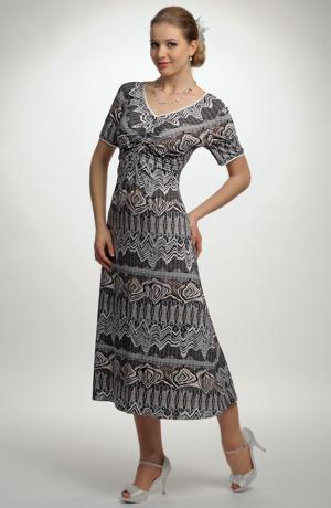 Elegantní černobílé elastické šaty s potiskem