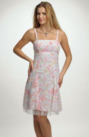 Šaty na ramínka s drobnými kvítky
