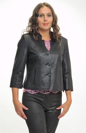 Dámské elegantní černé sako z imitace kůže