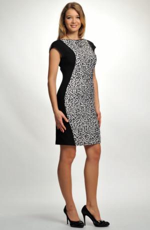 Elegantní společenské šaty se zvířecím dezénem v zeštíhlující siluetě, vhodné i do práce, vel. 38, 40, 42