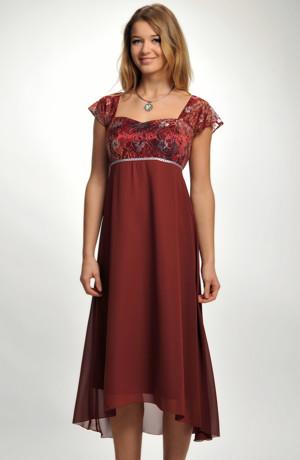 Rezavé, šifóńové šaty v empírovém střihu