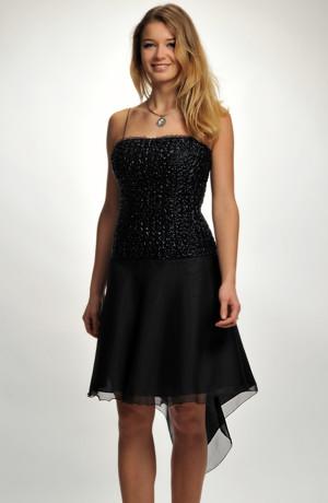 Krátké černé společenské šaty na ples s asymetrickou šifónovou kolovou sukní, vel 38, 40.